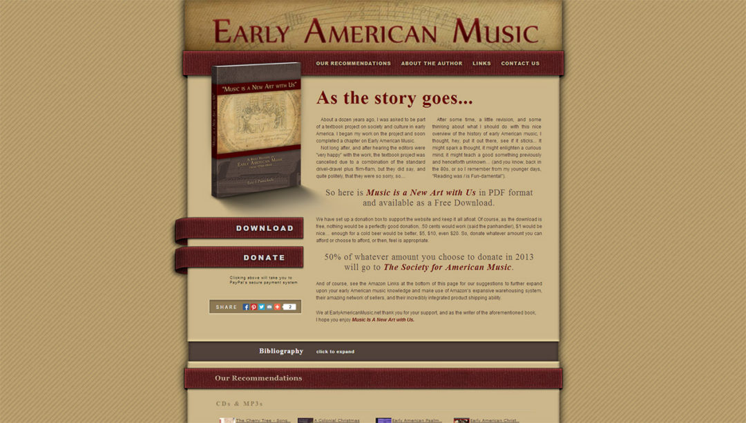 Website Design and Development for Early American Music
